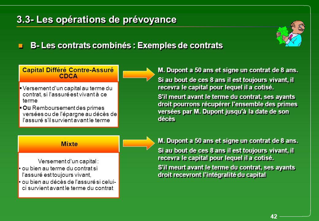 42 Capital Différé Contre-Assuré CDCA Versement d'un capital au terme du contrat, si l'assuré est vivant à ce terme Ou Remboursement des primes versée
