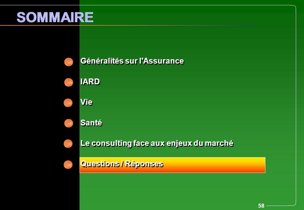 58 Généralités sur l'Assurance IARD Vie Santé Le consulting face aux enjeux du marché Questions / Réponses Généralités sur l'Assurance IARD Vie Santé