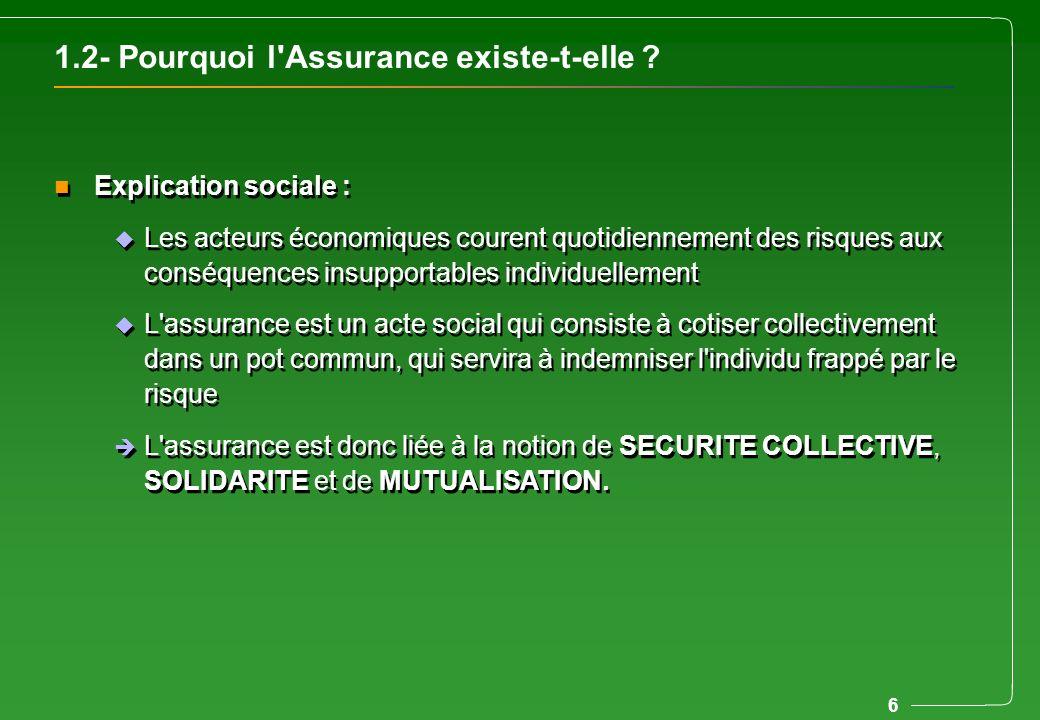 6 1.2- Pourquoi l'Assurance existe-t-elle ? n Explication sociale : u Les acteurs économiques courent quotidiennement des risques aux conséquences ins