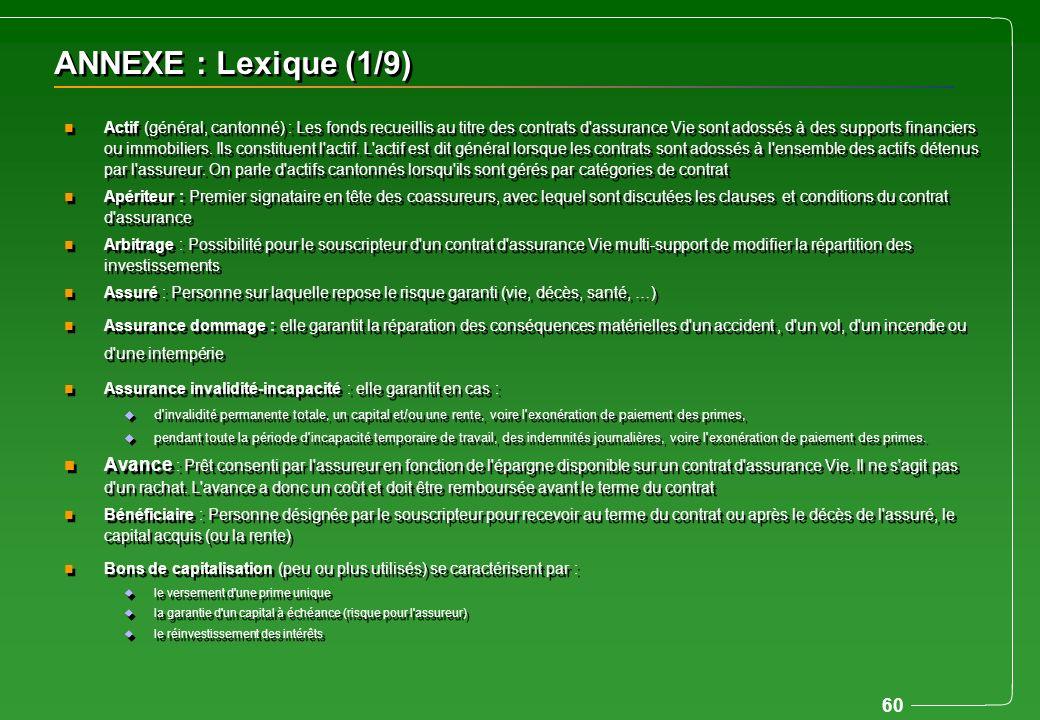 60 ANNEXE : Lexique (1/9) n Actif (général, cantonné) : Les fonds recueillis au titre des contrats d'assurance Vie sont adossés à des supports financi