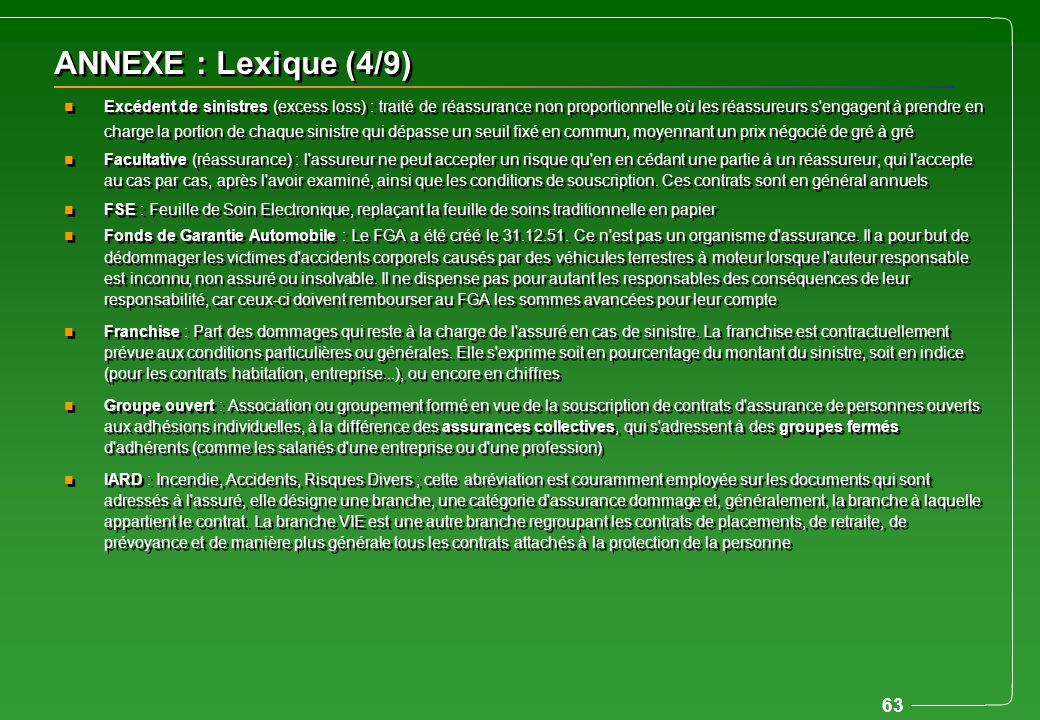63 ANNEXE : Lexique (4/9) n Excédent de sinistres (excess loss) : traité de réassurance non proportionnelle où les réassureurs s'engagent à prendre en
