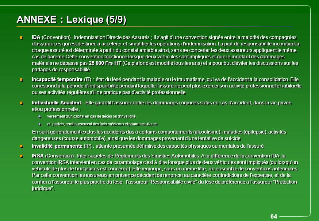 64 ANNEXE : Lexique (5/9) n IDA (Convention) : Indemnisation Directe des Assurés ; il s'agit d'une convention signée entre la majorité des compagnies