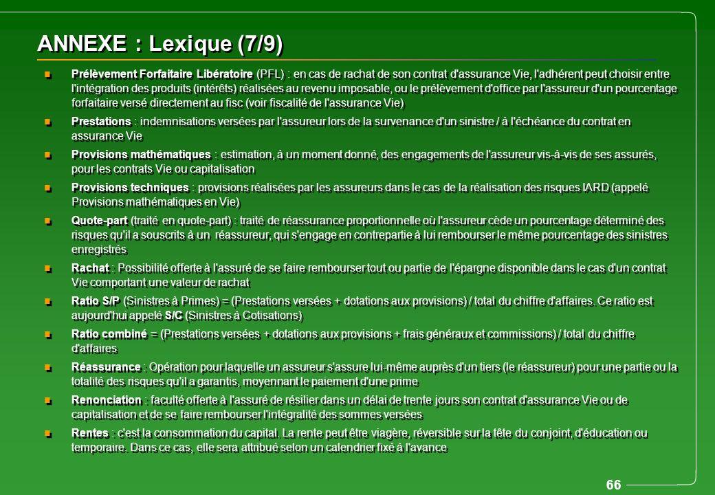 66 ANNEXE : Lexique (7/9) n Prélèvement Forfaitaire Libératoire (PFL) : en cas de rachat de son contrat d'assurance Vie, l'adhérent peut choisir entre