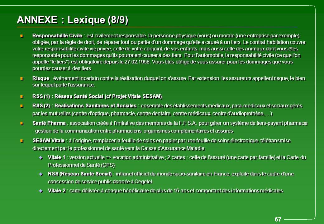 67 ANNEXE : Lexique (8/9) n Responsabilité Civile : est civilement responsable, la personne physique (vous) ou morale (une entreprise par exemple) obl