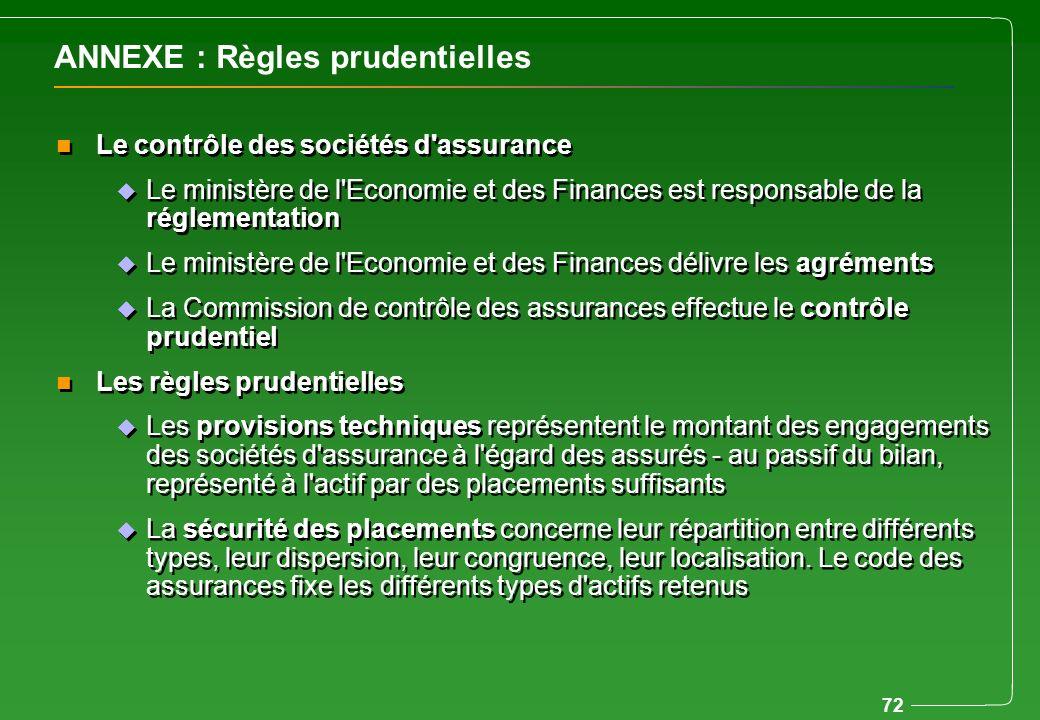 72 ANNEXE : Règles prudentielles n Le contrôle des sociétés d'assurance u Le ministère de l'Economie et des Finances est responsable de la réglementat