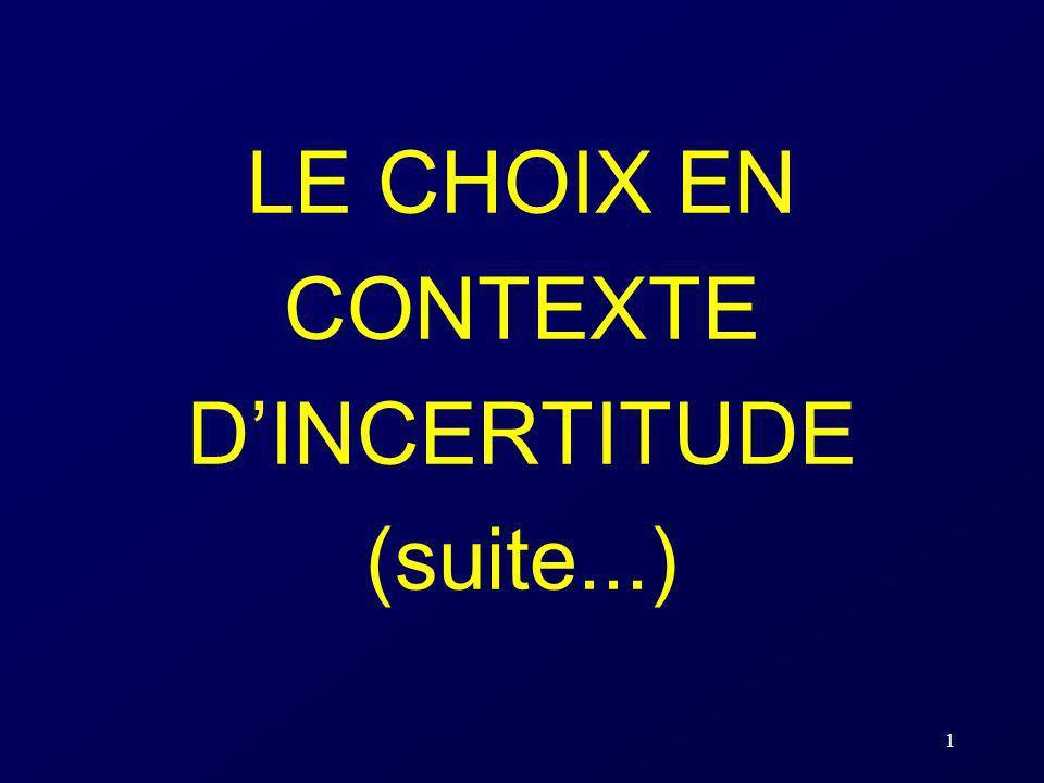 1 LE CHOIX EN CONTEXTE DINCERTITUDE (suite...)