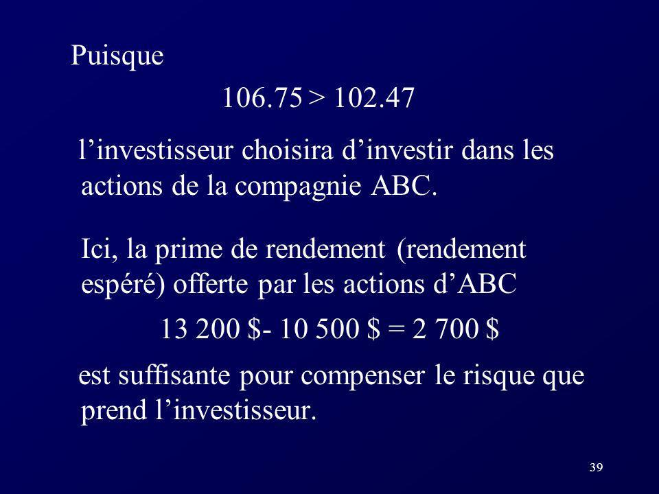 39 Puisque 106.75 > 102.47 linvestisseur choisira dinvestir dans les actions de la compagnie ABC.