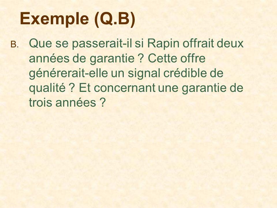 Exemple (Q.B) B. Que se passerait-il si Rapin offrait deux années de garantie ? Cette offre générerait-elle un signal crédible de qualité ? Et concern
