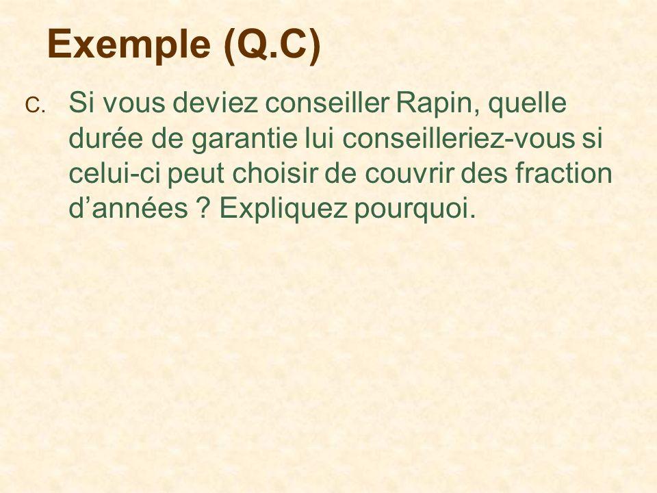 Exemple (Q.C) C. Si vous deviez conseiller Rapin, quelle durée de garantie lui conseilleriez-vous si celui-ci peut choisir de couvrir des fraction dan