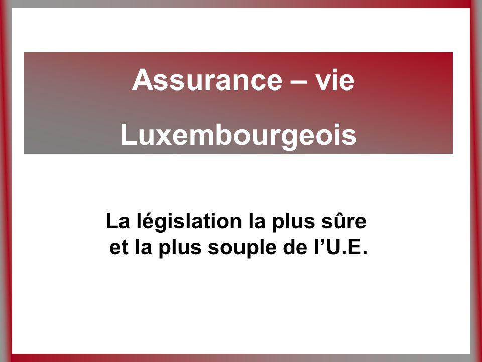 Assurance – vie Luxembourgeois La législation la plus sûre et la plus souple de lU.E.