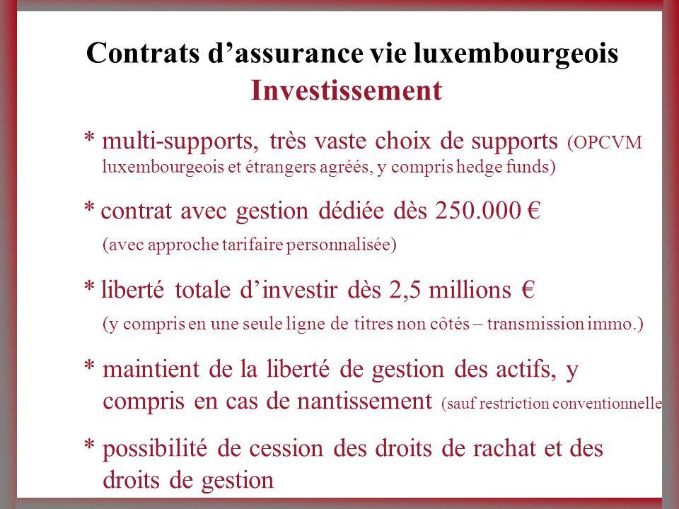 Souscription * par transfert dactifs monétaires * par apport de titres * dépositaires multiples (au choix du client) Des solutions aux attentes les plus sophistiquées, des clients très haut de gamme Contrats dassurance vie luxembourgeois
