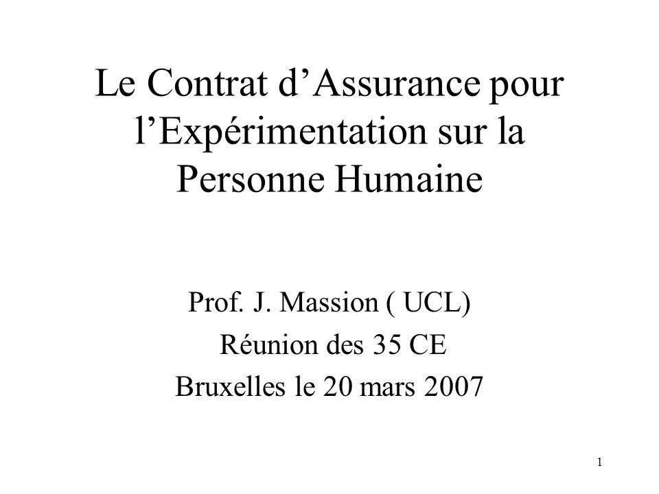 1 Le Contrat dAssurance pour lExpérimentation sur la Personne Humaine Prof.
