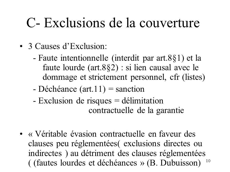 10 C- Exclusions de la couverture 3 Causes dExclusion: - Faute intentionnelle (interdit par art.8§1) et la faute lourde (art.8§2) : si lien causal avec le dommage et strictement personnel, cfr (listes) - Déchéance (art.11) = sanction - Exclusion de risques = délimitation contractuelle de la garantie « Véritable évasion contractuelle en faveur des clauses peu réglementées( exclusions directes ou indirectes ) au détriment des clauses réglementées ( (fautes lourdes et déchéances » (B.