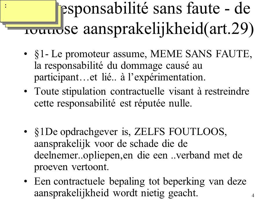 4 La responsabilité sans faute - de foutlose aansprakelijkheid(art.29) §1- Le promoteur assume, MEME SANS FAUTE, la responsabilité du dommage causé au participant…et lié..