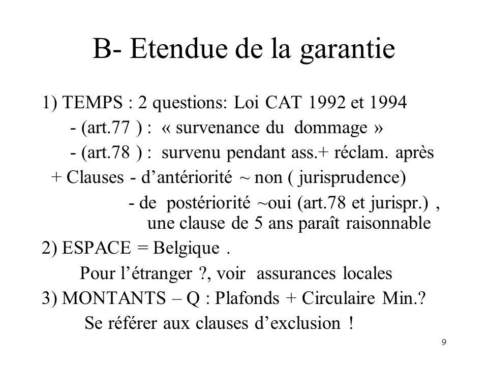 9 B- Etendue de la garantie 1) TEMPS : 2 questions: Loi CAT 1992 et 1994 - (art.77 ) : « survenance du dommage » - (art.78 ) : survenu pendant ass.+ réclam.