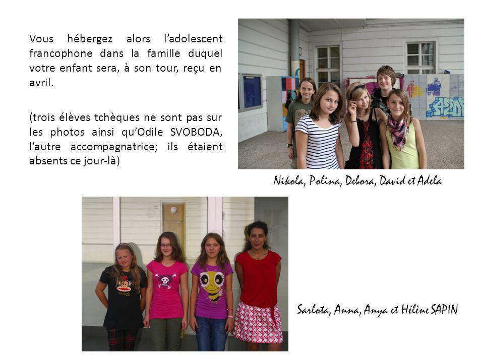 Nikola, Polina, Debora, David et Adela Sarlota, Anna, Anya et Hélène SAPIN Vous hébergez alors ladolescent francophone dans la famille duquel votre en