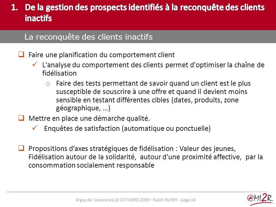 e) Faire une planification du comportement client L'analyse du comportement des clients permet d'optimiser la chaîne de fidélisation o Faire des tests