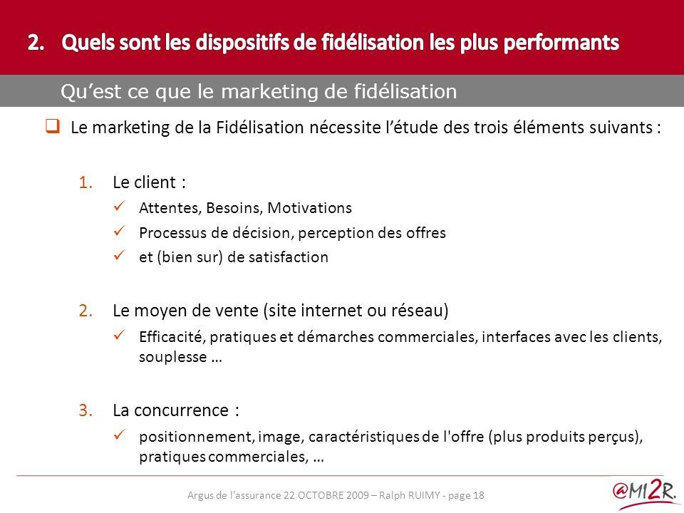 e) Le marketing de la Fidélisation nécessite létude des trois éléments suivants : 1.Le client : Attentes, Besoins, Motivations Processus de décision,