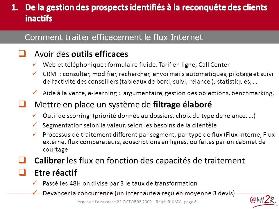 e) Avoir des outils efficaces Web et téléphonique : formulaire fluide, Tarif en ligne, Call Center CRM : consulter, modifier, rechercher, envoi mails