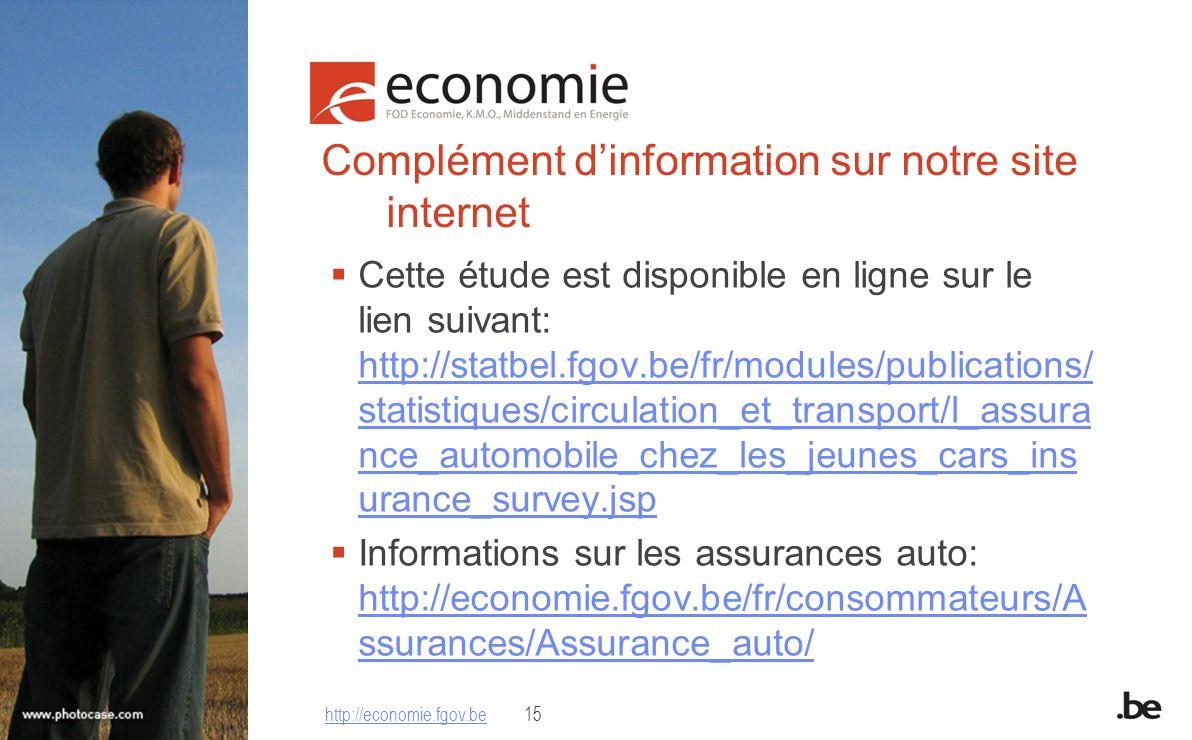 Complément dinformation sur notre site internet Cette étude est disponible en ligne sur le lien suivant: http://statbel.fgov.be/fr/modules/publication