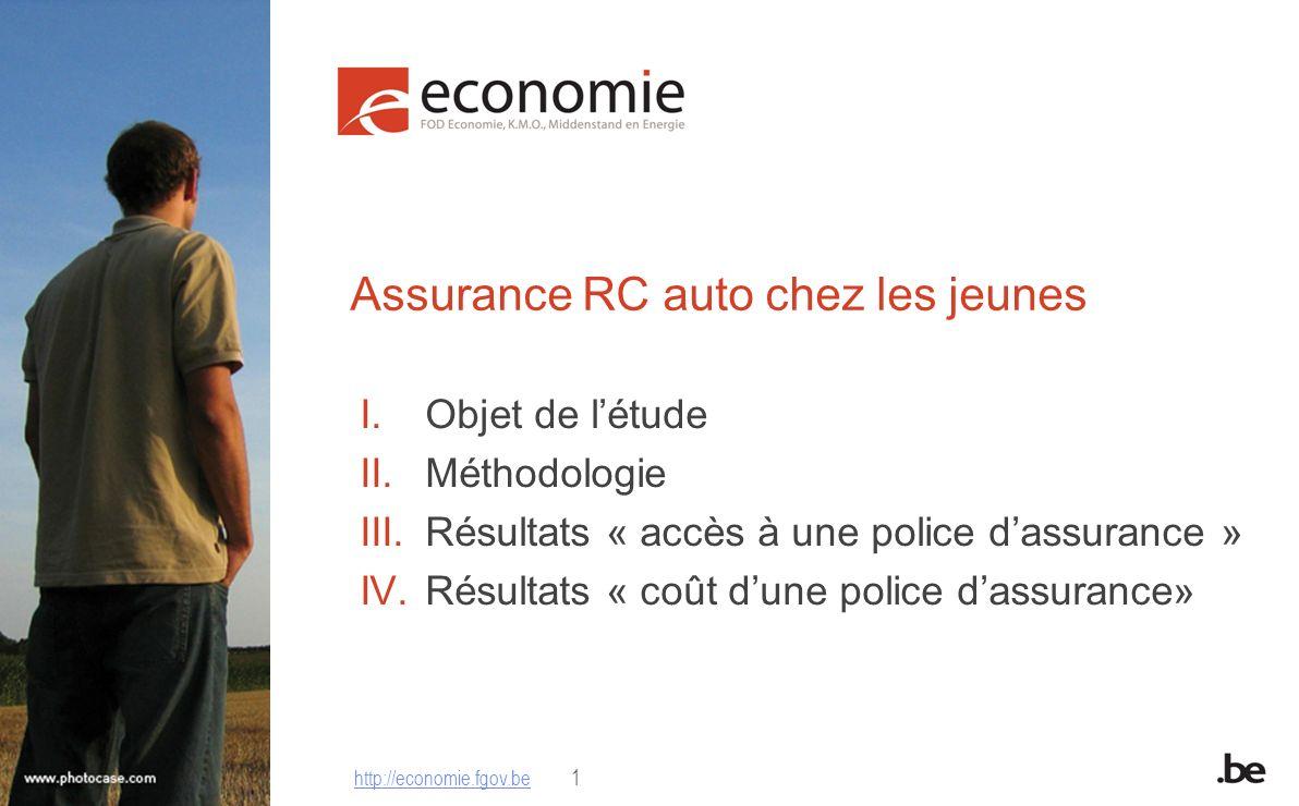 http://economie.fgov.be1 Assurance RC auto chez les jeunes I.Objet de létude II.Méthodologie III.Résultats « accès à une police dassurance » IV.Résult