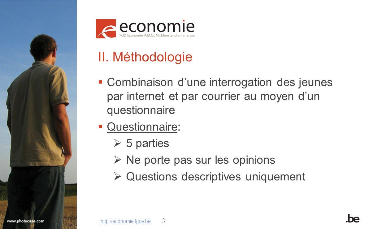 II. Méthodologie Combinaison dune interrogation des jeunes par internet et par courrier au moyen dun questionnaire Questionnaire: 5 parties Ne porte p