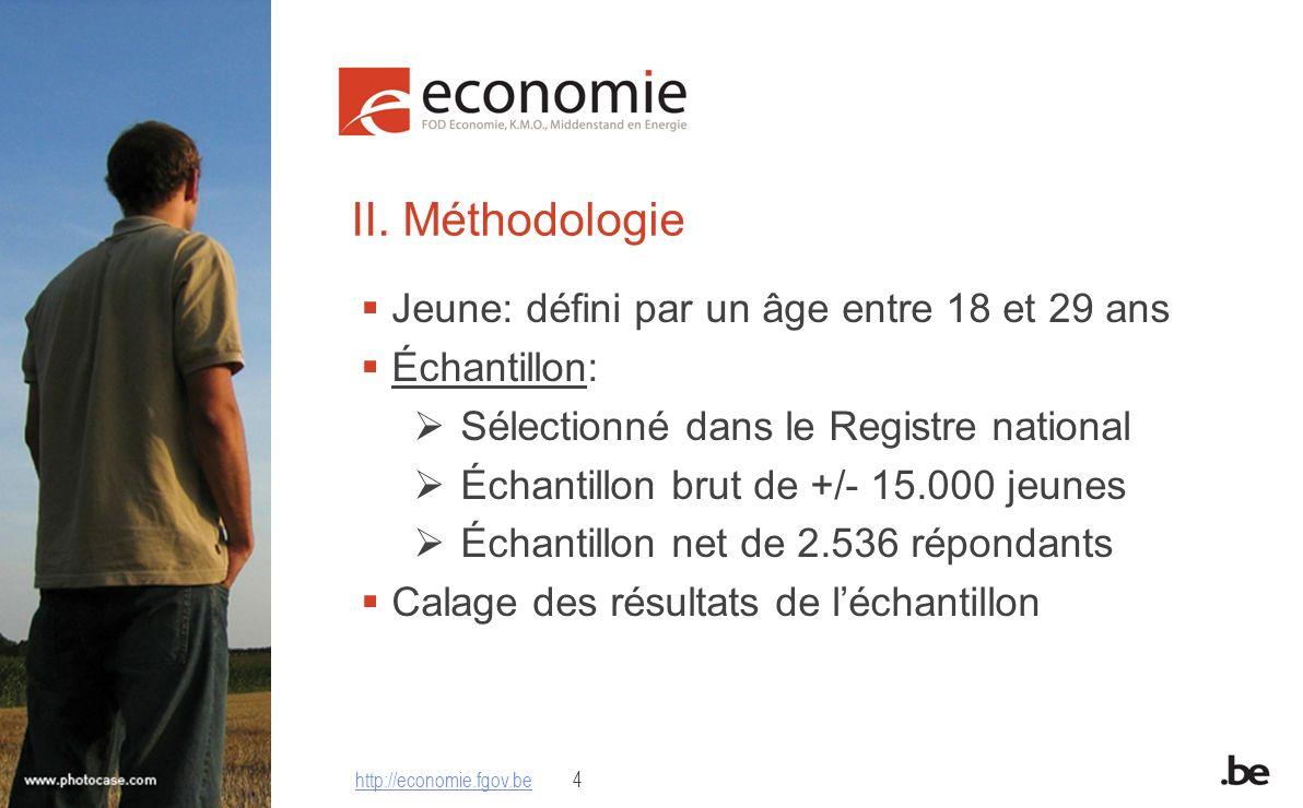 II. Méthodologie Jeune: défini par un âge entre 18 et 29 ans Échantillon: Sélectionné dans le Registre national Échantillon brut de +/- 15.000 jeunes