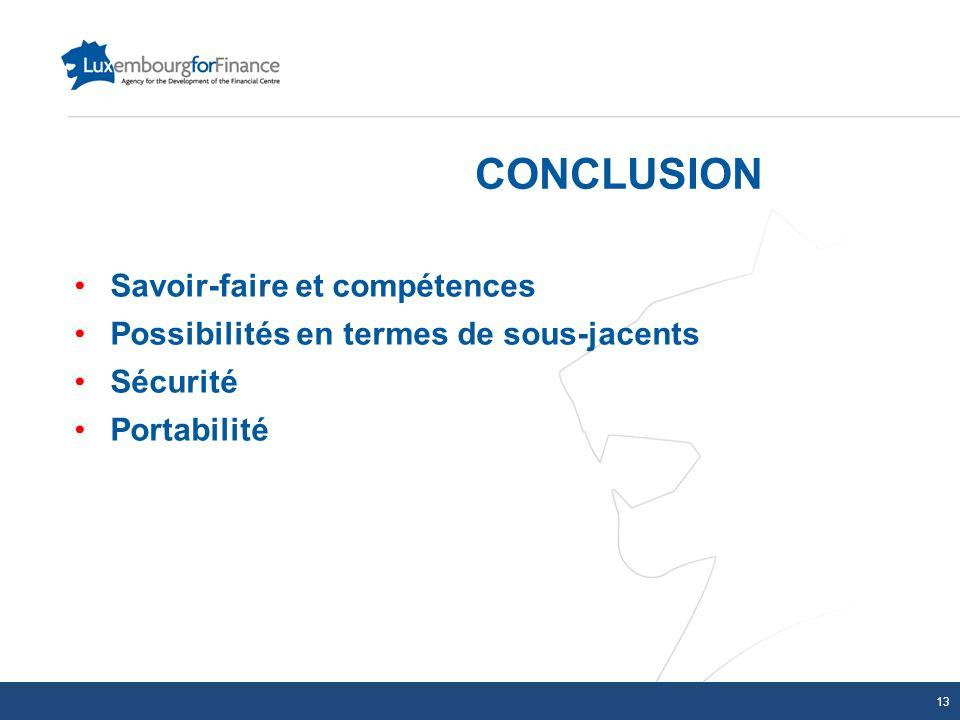 CONCLUSION Savoir-faire et compétences Possibilités en termes de sous-jacents Sécurité Portabilité 13