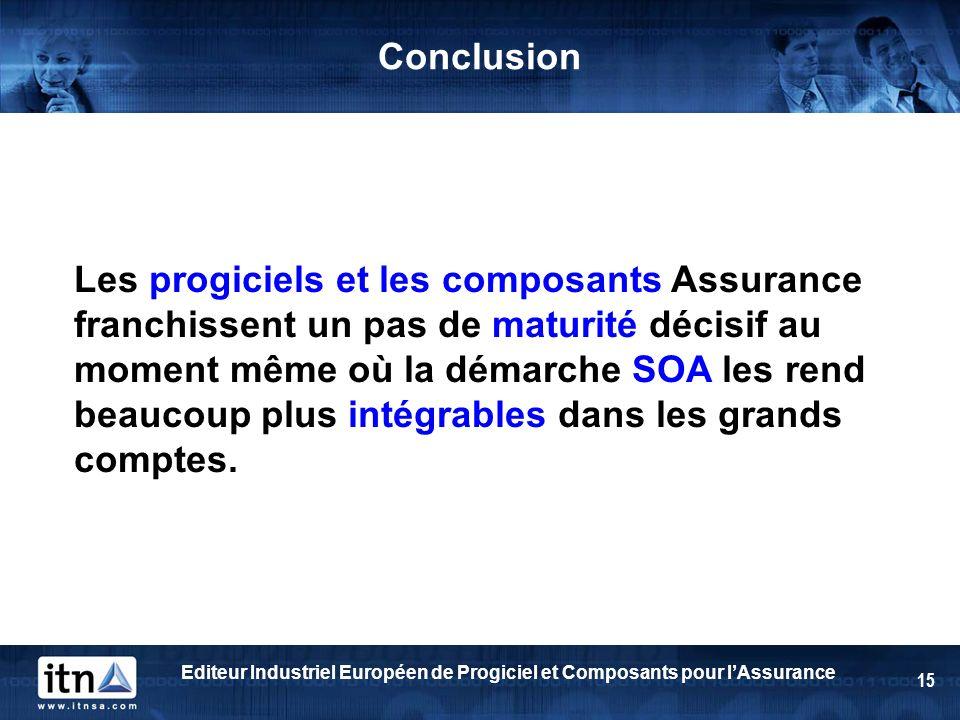 Editeur Industriel Européen de Progiciel et Composants pour lAssurance 15 Conclusion Les progiciels et les composants Assurance franchissent un pas de maturité décisif au moment même où la démarche SOA les rend beaucoup plus intégrables dans les grands comptes.