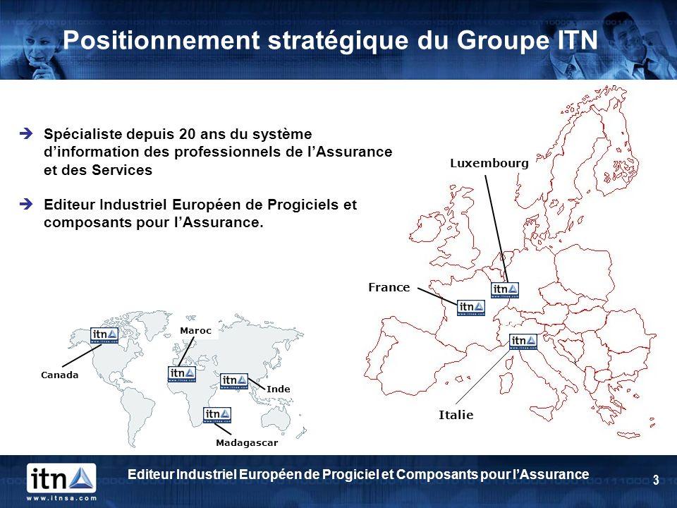 Editeur Industriel Européen de Progiciel et Composants pour lAssurance 3 Positionnement stratégique du Groupe ITN France Luxembourg Madagascar Inde Ca