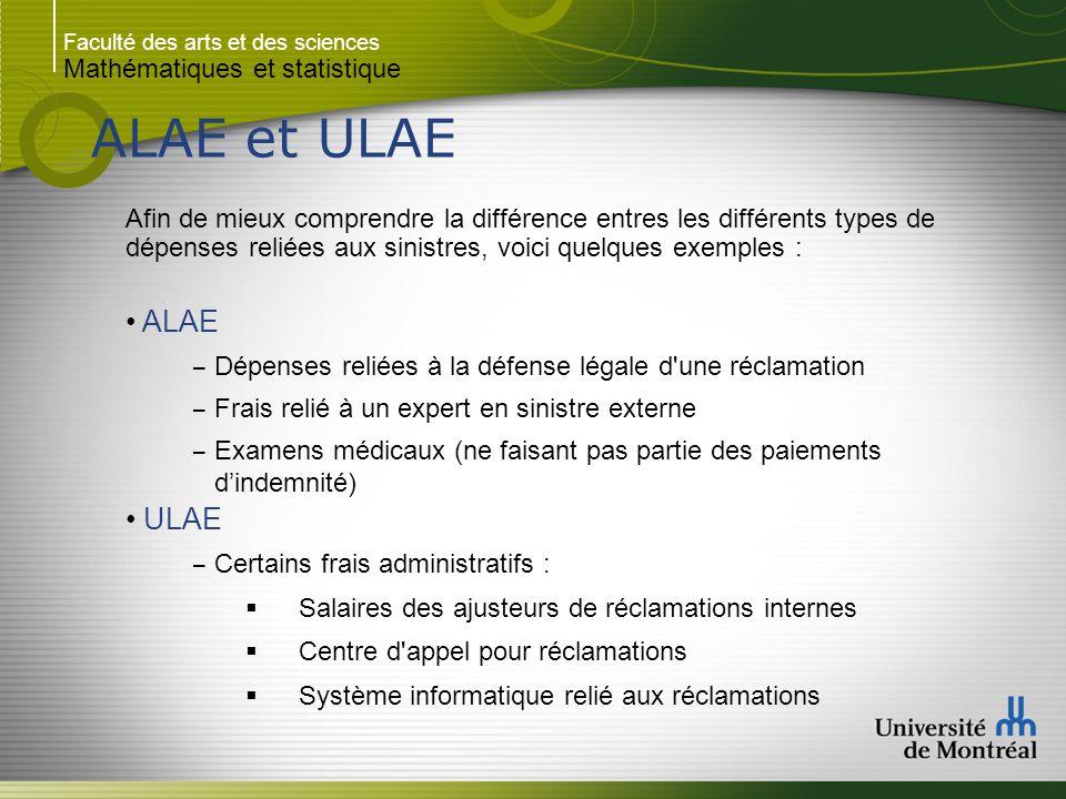 Faculté des arts et des sciences Mathématiques et statistique ALAE et ULAE Afin de mieux comprendre la différence entres les différents types de dépen