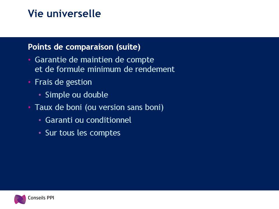 Vie universelle Points de comparaison (suite) Garantie de maintien de compte et de formule minimum de rendement Frais de gestion Simple ou double Taux