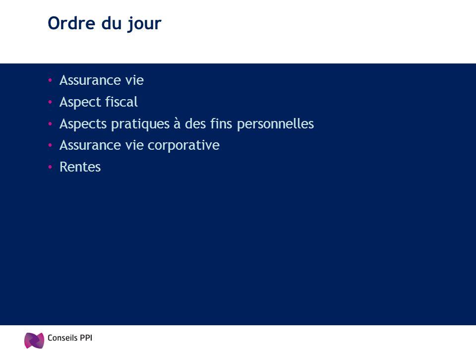 Ordre du jour Assurance vie Aspect fiscal Aspects pratiques à des fins personnelles Assurance vie corporative Rentes