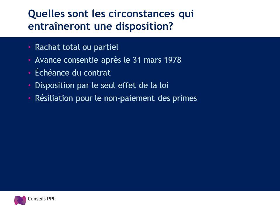 Quelles sont les circonstances qui entraîneront une disposition? Rachat total ou partiel Avance consentie après le 31 mars 1978 Échéance du contrat Di