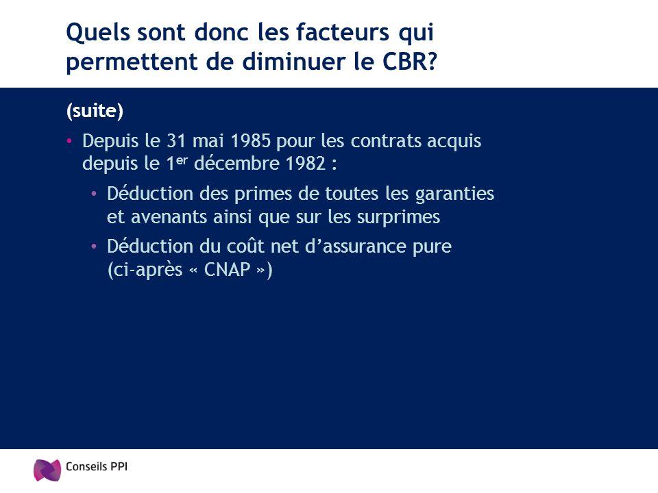 Quels sont donc les facteurs qui permettent de diminuer le CBR? (suite) Depuis le 31 mai 1985 pour les contrats acquis depuis le 1 er décembre 1982 :