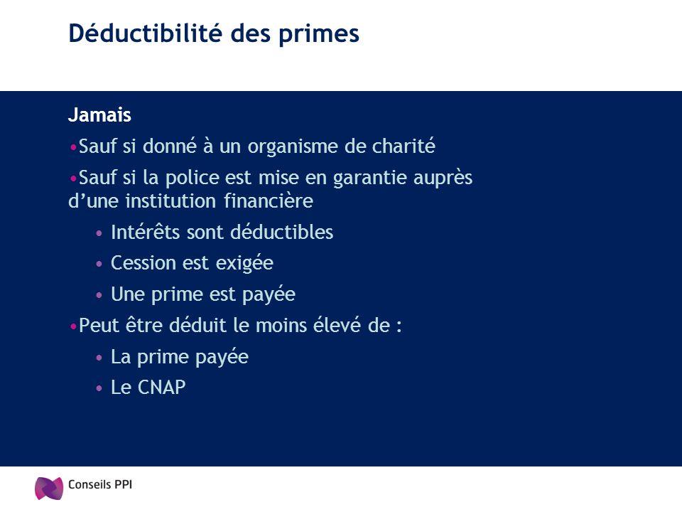 Déductibilité des primes Jamais Sauf si donné à un organisme de charité Sauf si la police est mise en garantie auprès dune institution financière Inté