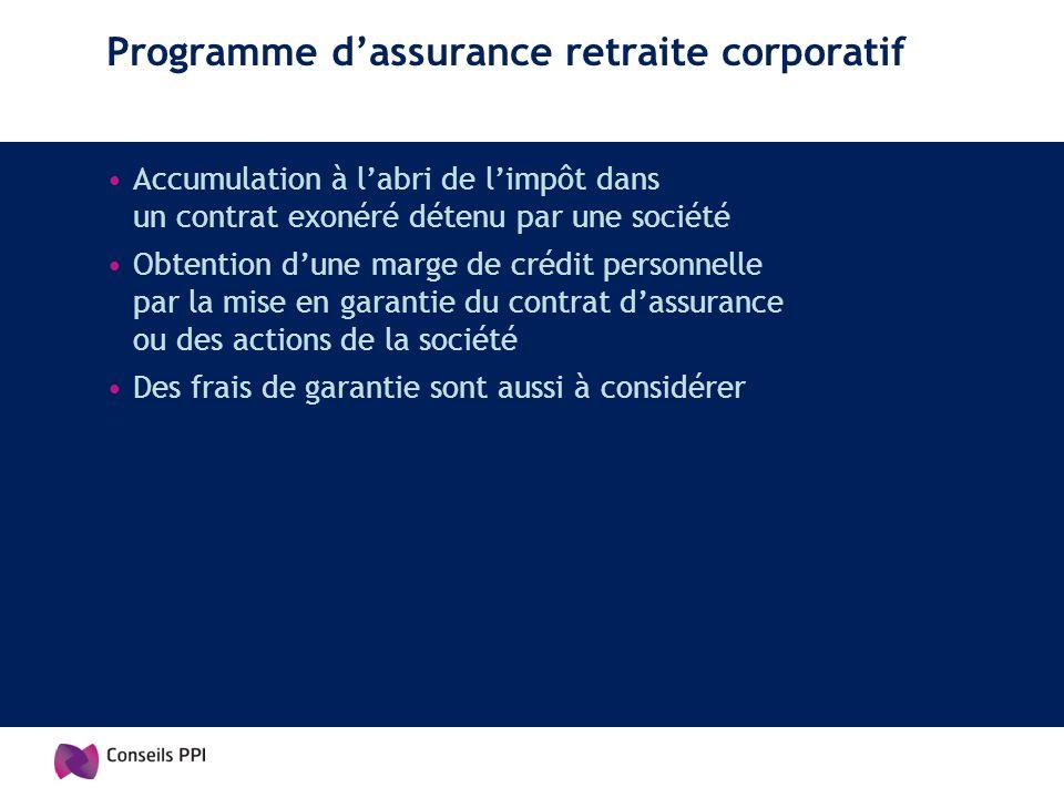 Programme dassurance retraite corporatif Accumulation à labri de limpôt dans un contrat exonéré détenu par une société Obtention dune marge de crédit