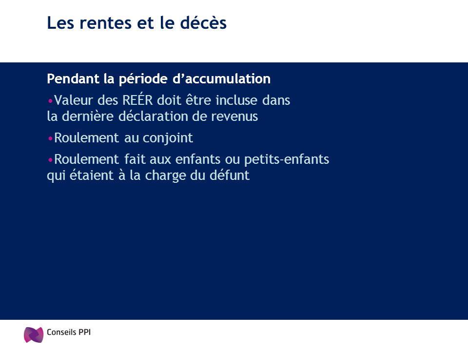 Les rentes et le décès Pendant la période daccumulation Valeur des REÉR doit être incluse dans la dernière déclaration de revenus Roulement au conjoin
