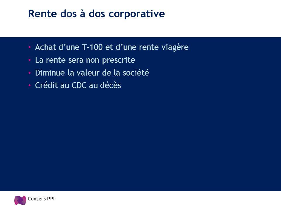 Rente dos à dos corporative Achat dune T-100 et dune rente viagère La rente sera non prescrite Diminue la valeur de la société Crédit au CDC au décès