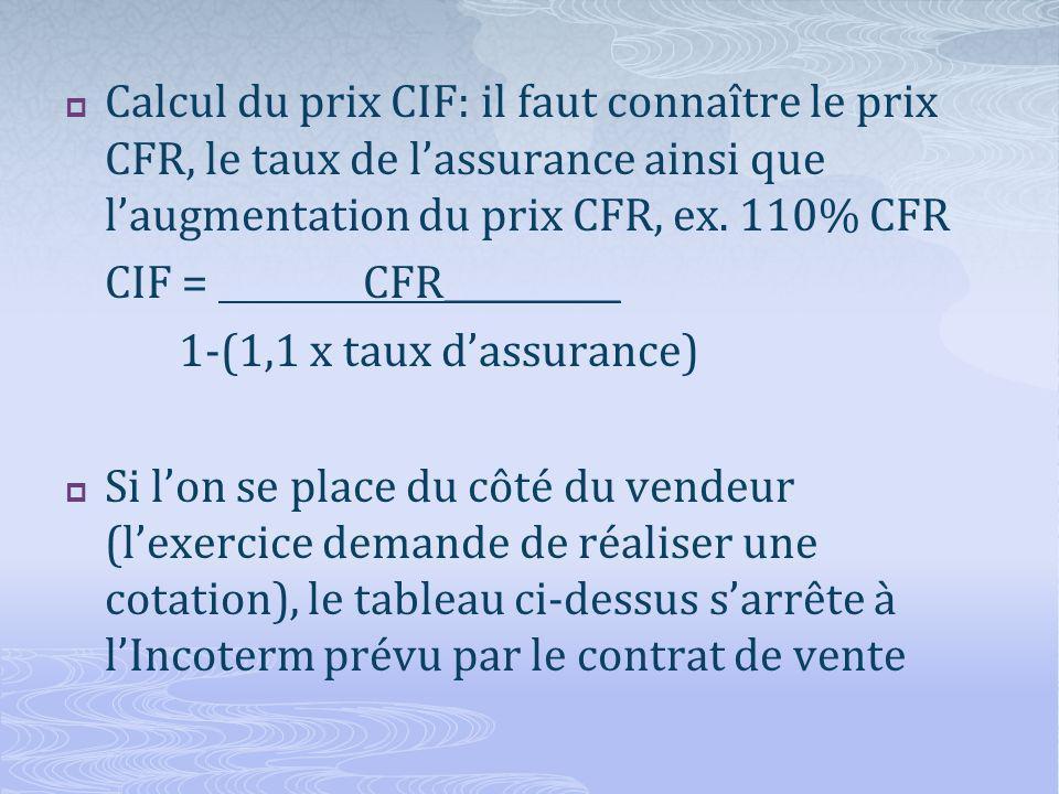 Calcul du prix CIF: il faut connaître le prix CFR, le taux de lassurance ainsi que laugmentation du prix CFR, ex.