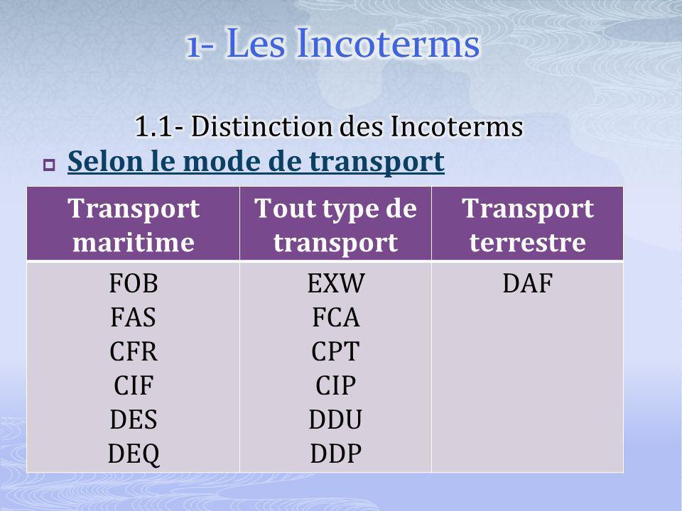 Selon le mode de transport Transport maritime Tout type de transport Transport terrestre FOB FAS CFR CIF DES DEQ EXW FCA CPT CIP DDU DDP DAF