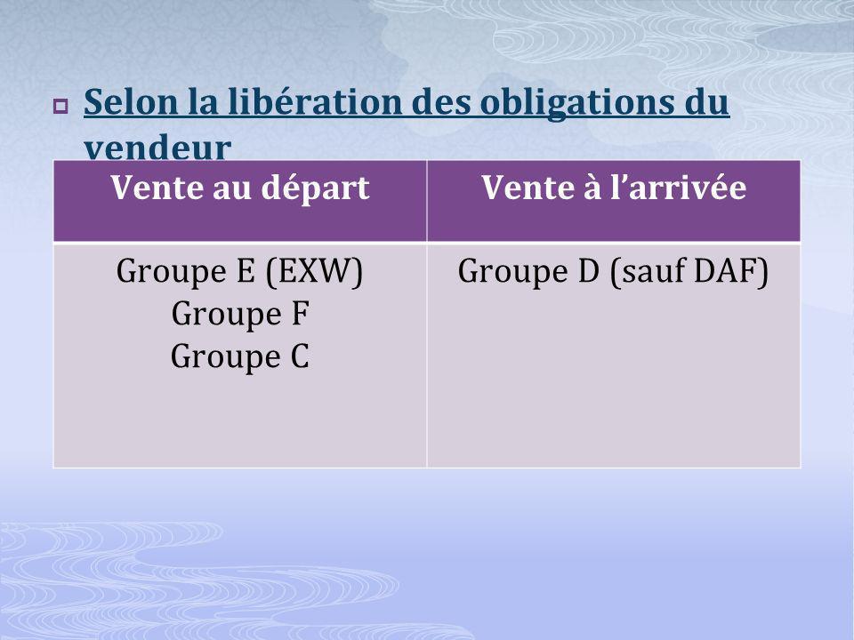 Selon la libération des obligations du vendeur Vente au départVente à larrivée Groupe E (EXW) Groupe F Groupe C Groupe D (sauf DAF)