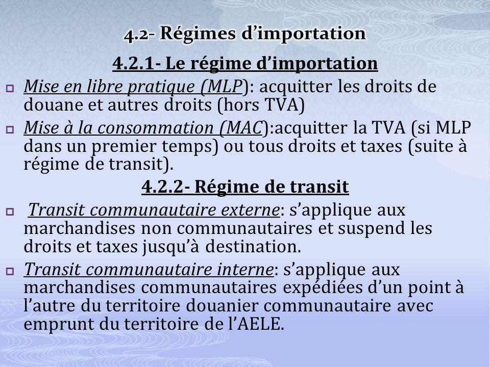 4.2.1- Le régime dimportation Mise en libre pratique (MLP): acquitter les droits de douane et autres droits (hors TVA) Mise à la consommation (MAC):acquitter la TVA (si MLP dans un premier temps) ou tous droits et taxes (suite à régime de transit).