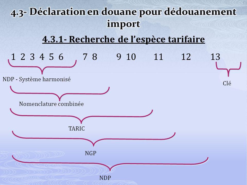 4.3.1- Recherche de lespèce tarifaire 1 2 3 4 5 6 7 8 9 10 11 12 13 NDP - Système harmonisé Nomenclature combinée TARIC NGP NDP Clé