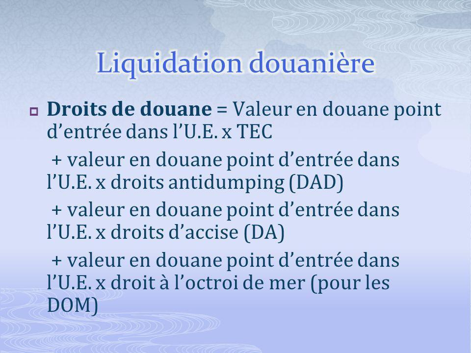 Droits de douane = Valeur en douane point dentrée dans lU.E.