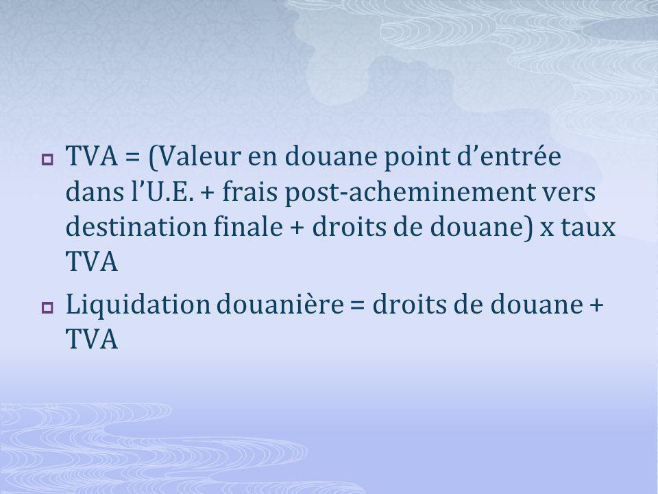 TVA = (Valeur en douane point dentrée dans lU.E.