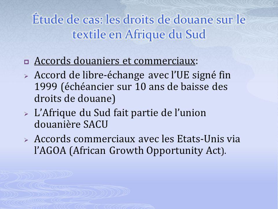 Accords douaniers et commerciaux: Accord de libre-échange avec lUE signé fin 1999 (échéancier sur 10 ans de baisse des droits de douane) LAfrique du Sud fait partie de lunion douanière SACU Accords commerciaux avec les Etats-Unis via lAGOA (African Growth Opportunity Act ).