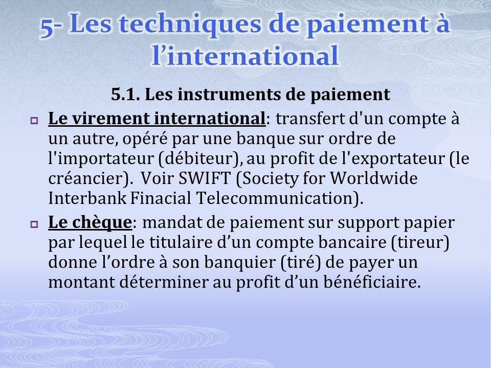 5.1. Les instruments de paiement Le virement international: transfert d'un compte à un autre, opéré par une banque sur ordre de l'importateur (débiteu