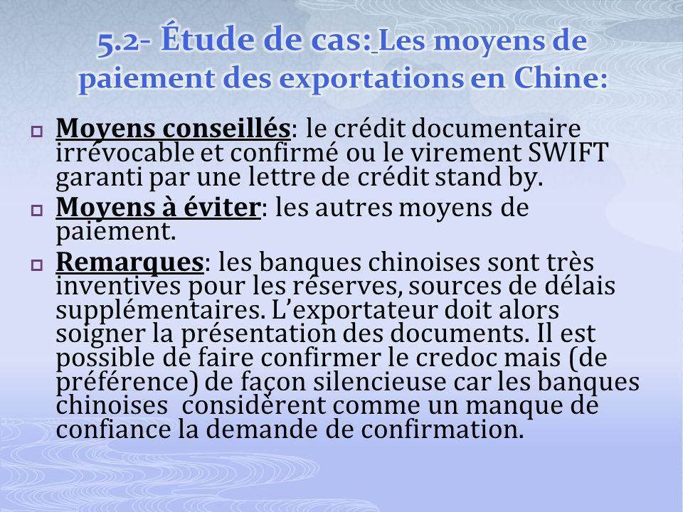 Moyens conseillés: le crédit documentaire irrévocable et confirmé ou le virement SWIFT garanti par une lettre de crédit stand by.