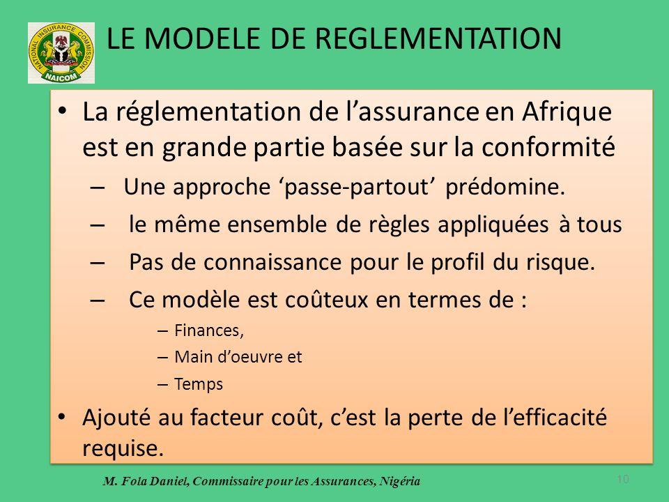 LE MODELE DE REGLEMENTATION La réglementation de lassurance en Afrique est en grande partie basée sur la conformité – Une approche passe-partout prédomine.
